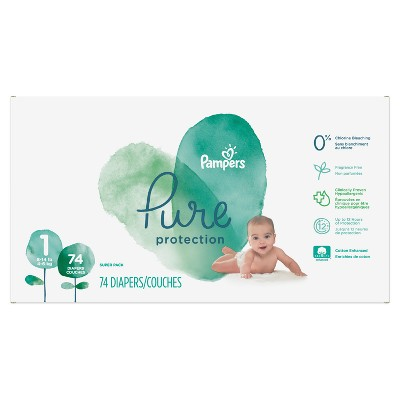 Pampers Pure Protection Diapers Super Pack - Size 1 (74ct)