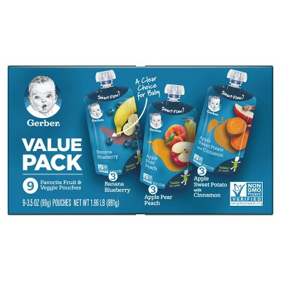 Gerber Toddler Fruit & Veggie Value Pack Baby Food Pouches - 9ct/3.5oz Each