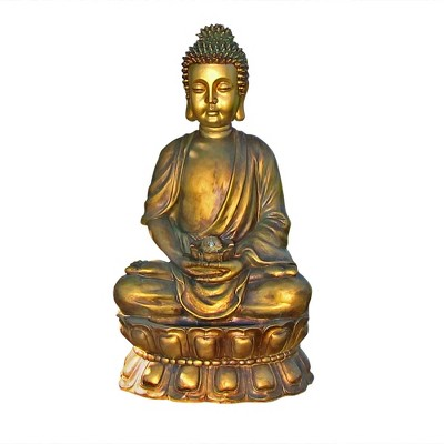 "36"" Outdoor Relaxed Buddha Water Fountain with Light - Sunnydaze Decor"