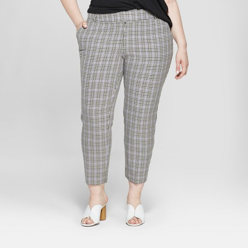 8e06aa1ee73cb Women s Plus Size Houndstooth Ankle Pants with Comfort Waistband - Ava   Viv™  Berry