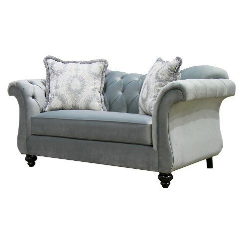 Alexandria Victorian Style Love Seat Gray - Furniture of America - image 1 of 3