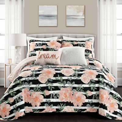 King 7pc Amara Watercolor Rose Quilt Set Black/Dusty Rose - Lush Décor