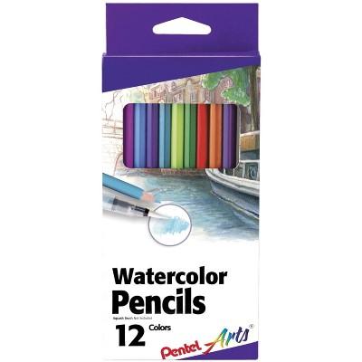 Pentel Arts Watercolor Pencils, Assorted Colors, set of 12