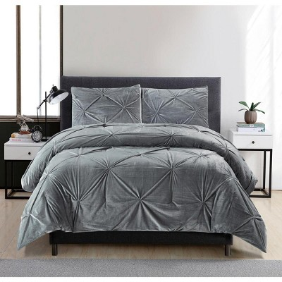 Lily NY Pintuck Velvet Reversible To Sherpa 3Pc Comforter Sets