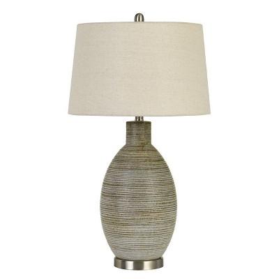 "30"" Pomezia Ceramic Table Lamp with Hardback Fabric Shade Pottery - Cal Lighting"