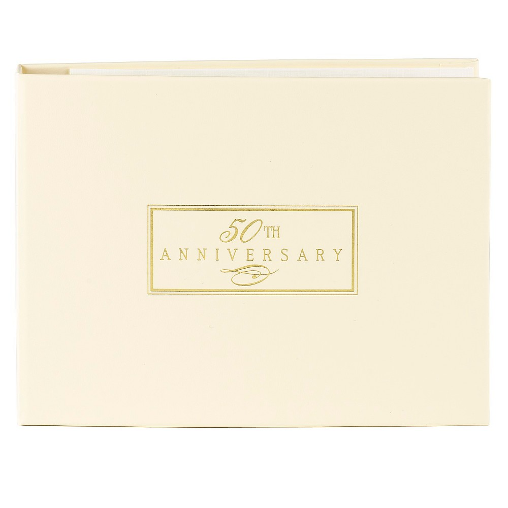 Image of 50th Anniversary Guest Book - Ivory