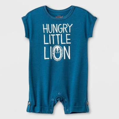 Baby Boys' Short Sleeve  Hungry Little Lion  Romper - Cat & Jack™ Blue 0-3M