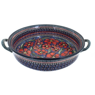Blue Rose Polish Pottery Jungle Flower Large Casserole Dish with Handles