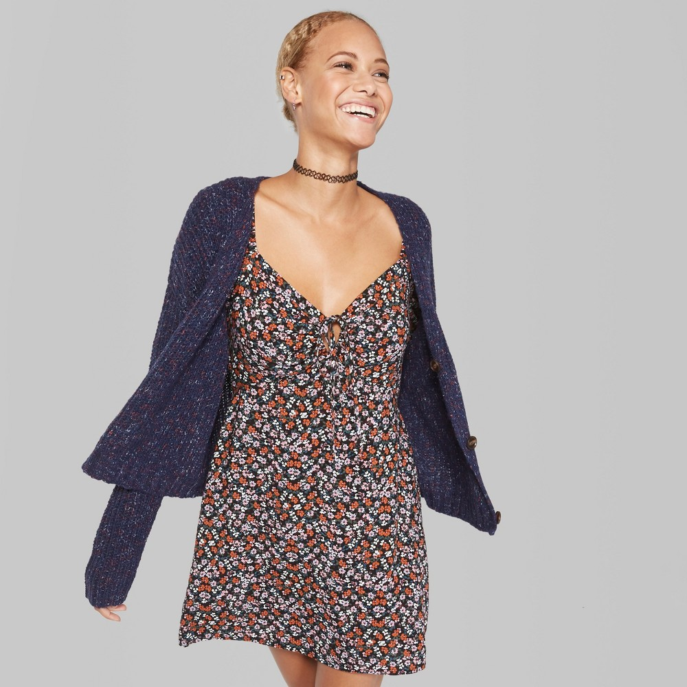 Women's Long Sleeve Cropped Button Cardigan - Wild Fable Navy (Blue) XL
