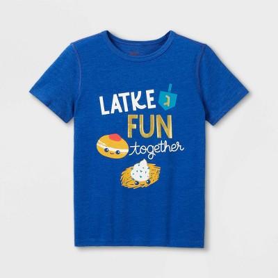 Boys' Adaptive Hanukkah Short Sleeve Graphic T-Shirt - Cat & Jack™ Blue