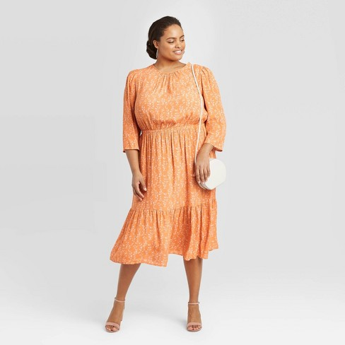 Women's Plus Size 3/4 Sleeve Crewneck Tiered Midi Dress - A New Day™ - image 1 of 3