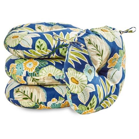 "4pk 18"" Marlow Floral Outdoor Bistro Chair Cushions - Kensington Garden - image 1 of 4"