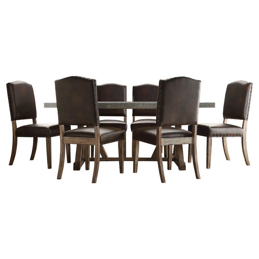 Sullivan 7-Piece Concrete Topped Dining Set - Brown Bonded Leather