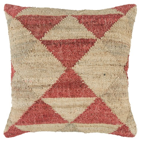 Filled Oversize Square Throw Pillow Red