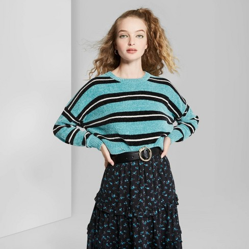 Women's Striped Long Sleeve Crewneck Sweater - Wild Fable™ Teal  - image 1 of 3