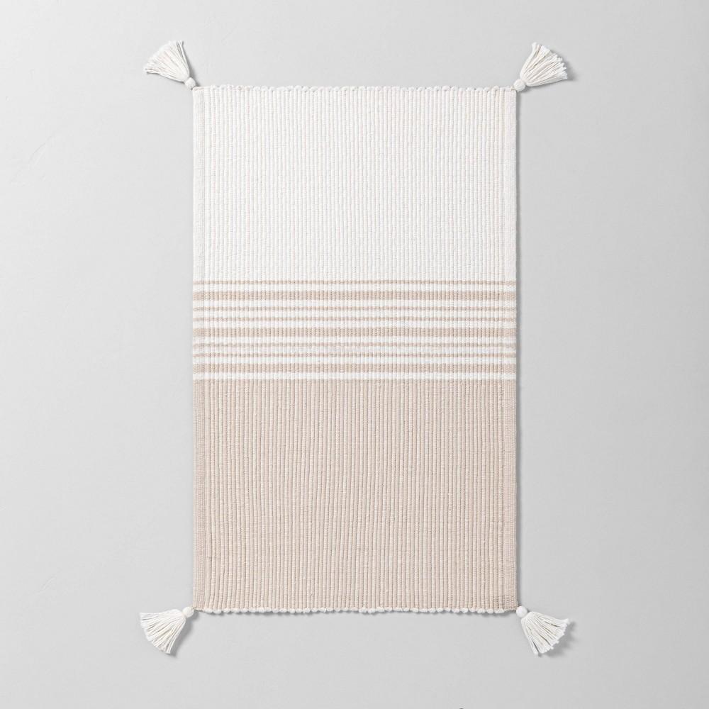Neutral Center Stripes Colorblock Bath Rug Beige Cream Hearth 38 Hand 8482 With Magnolia