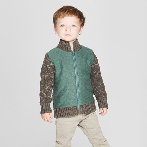 Toddler Boys' Zip-Up Knit Sleeve With Quilted Body Cardigan - Cat & Jack™ Green - image 1 of 3