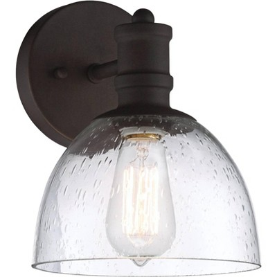 """Franklin Iron Works Industrial Wall Light Sconce LED Bronze Hardwired 9 1/4"""" High Fixture Seedy Glass for Bedroom Bathroom Hallway"""