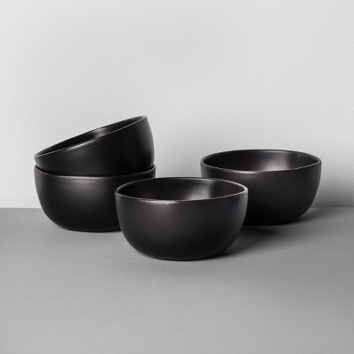 4pk Stoneware Cereal Bowl Black - Hearth & Hand™ with Magnolia