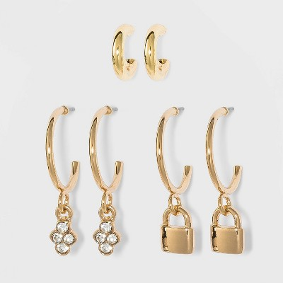 Lock Charm Hoop Earring Set 3pc - A New Day™ Gold