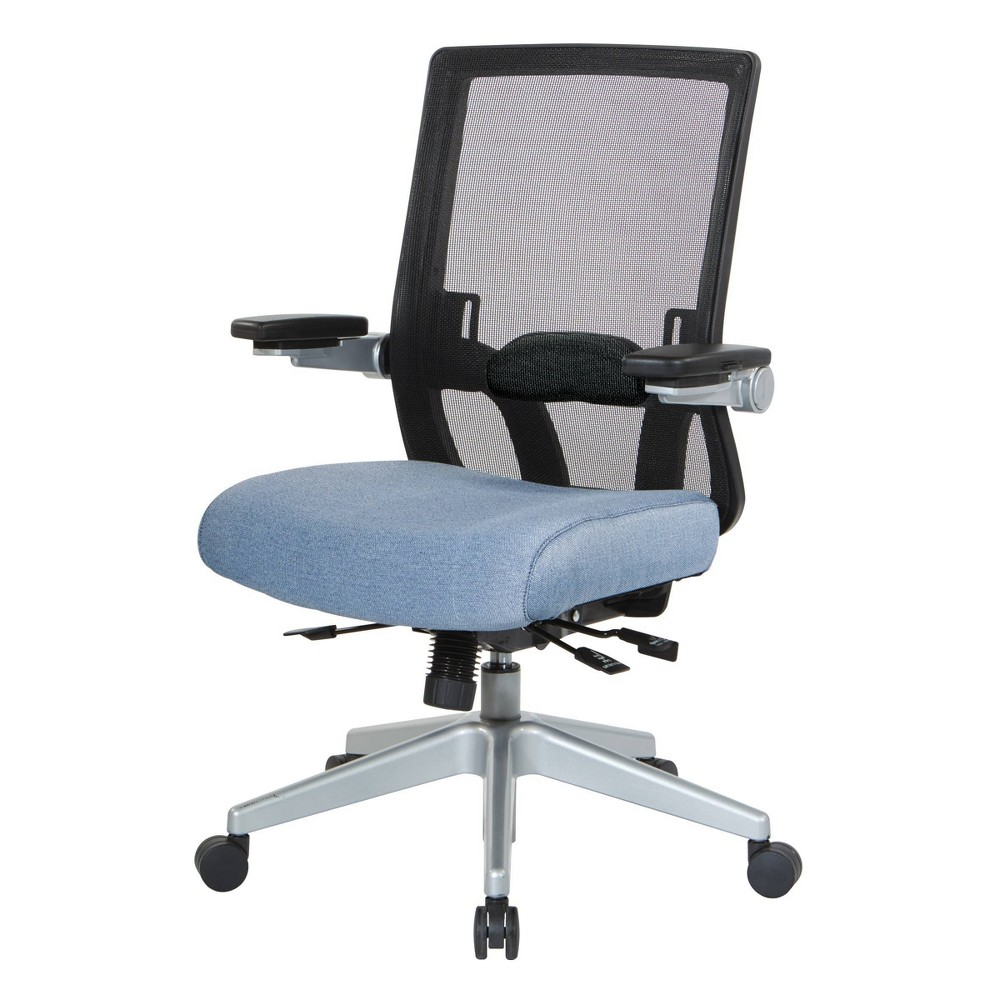 Back Flip Armchair with Silver Base Blue - OSP Home Furnishings Back Flip Armchair with Silver Base Blue - OSP Home Furnishings