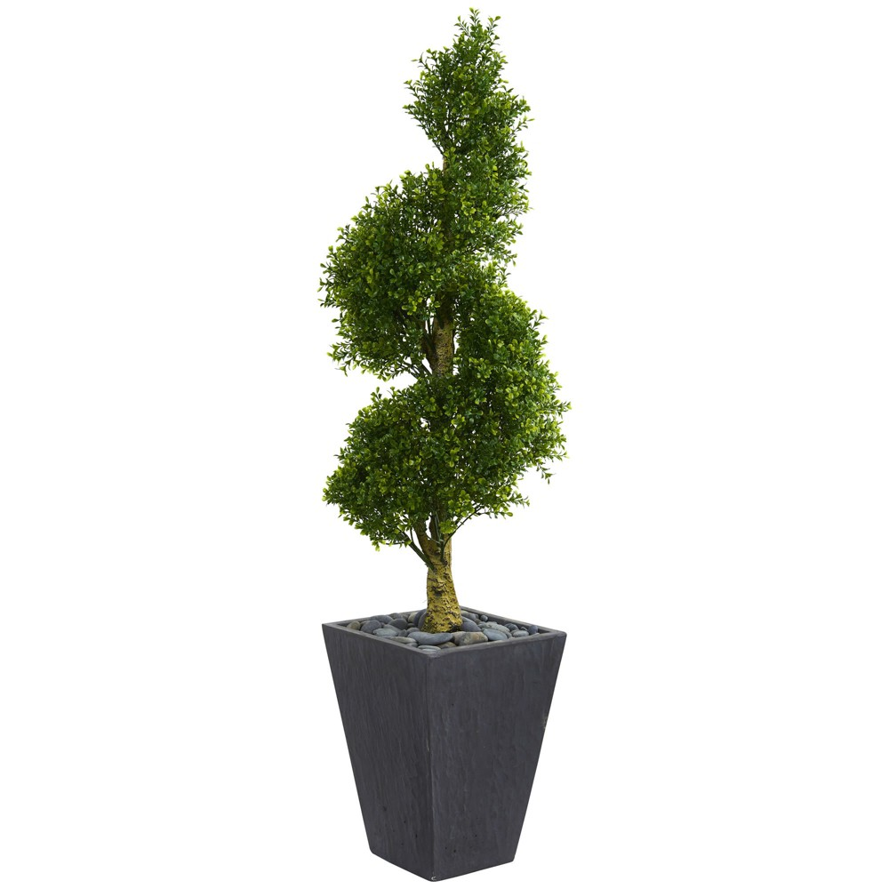 5ft Boxwood Spiral Topiary Artificial Tree In Slate Planter - Nearly Natural, Green