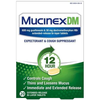 Mucinex DM Expectorant & Cough Suppressant Tablets - Guaifenesin - 20ct