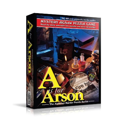 TDC Games Alphabet Mystery Jigsaw Puzzle - A is for Arson - Includes Short Mystery Booklet and Two 500 piece Puzzles with Clues