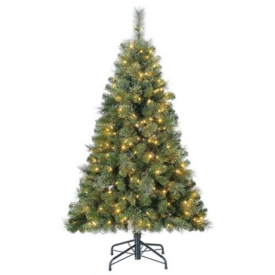 Home Heritage 5' Artificial Cascade Cashmere Christmas Tree w/ Changing Lights