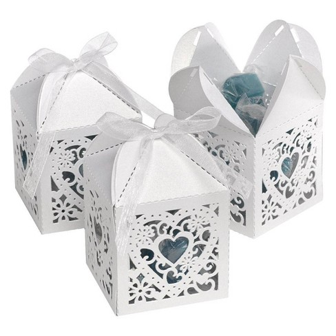 25ct Square Heart Die Cut Wedding Favor Box - image 1 of 2