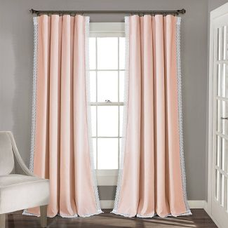 "54""x95"" Rosalie Rod Pocket Light Filtering Window Curtain Panels Blush Pink - Lush Décor"