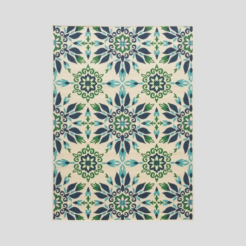 Gladis Medallion Outdoor Rug Ivory/Blue - Christopher Knight Home - image 1 of 5