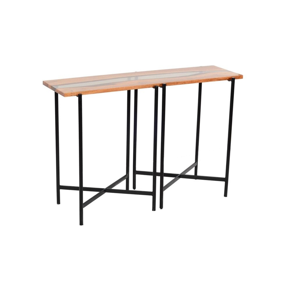 """Image of """"48"""""""" Rivers Edge Acacia Wood and Acrylic Console/Entryway Table Brown - Alaterre Furniture"""""""