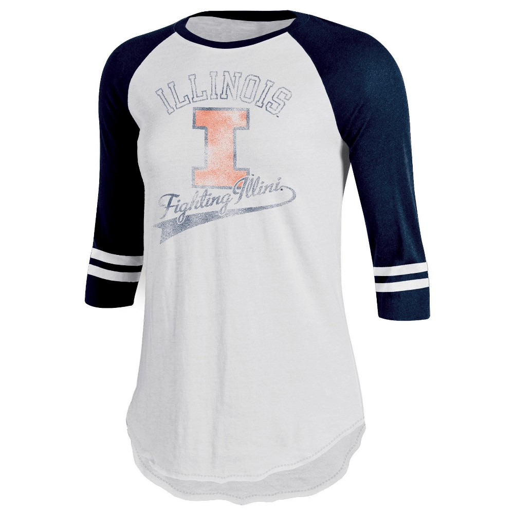 Ncaa Illinois Fighting Illini Women 39 S Retro Tailgate White 3 4 Sleeve T Shirt Xl