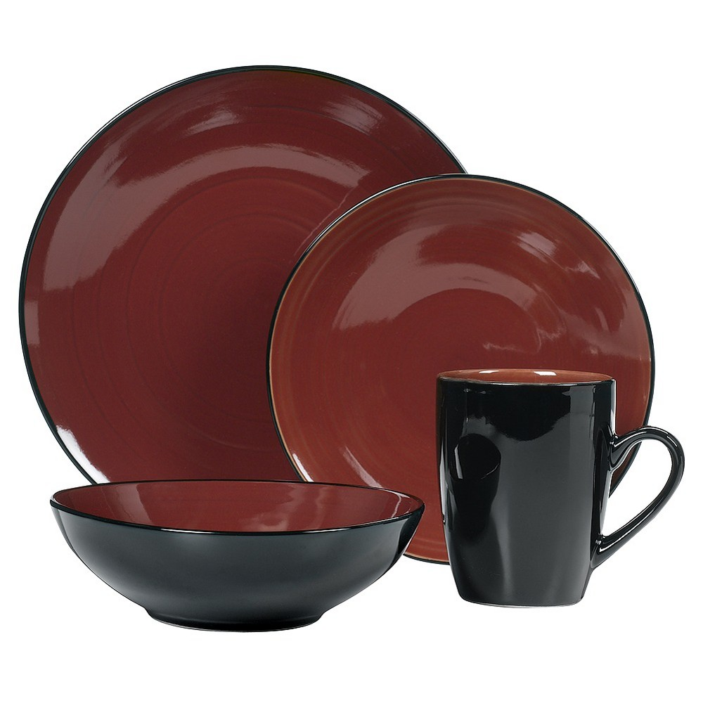 Image of C.C.A. International Domo 16pc Dinnerware Set, Black/Red