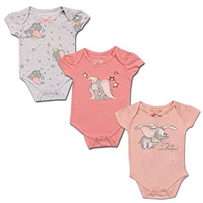 Disney Girl's 3-Pack Character Print Short Sleeve Bow Front Baby Creeper Set