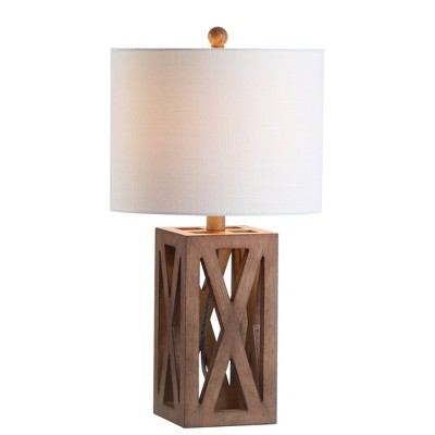 """21.5"""" Wood Stewart Table Lamp (Includes LED Light Bulb)Brown - Jonathan Y"""