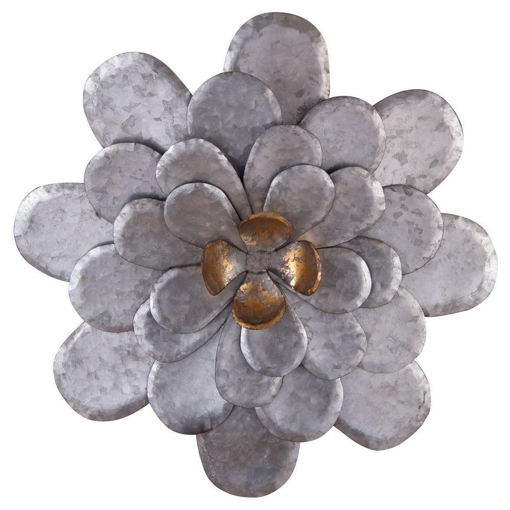 "17.25"" Small Metal Roadside Wall Flower - Silver - Foreside Home & Garden"