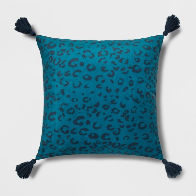 Jaguar Print Square Throw Pillow Blue   Opalhouse by Opalhouse