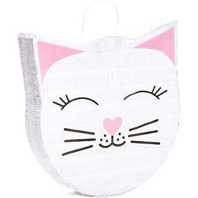 "Blue Panda Cat Pinata for Girl Baby Shower, Kids Birthdays, Kitten Meow Pet Party Supplies, 14x12.8"""