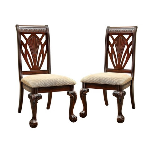 Set of 2 RaysburgShell Carved Back w/Padded Seat Arm Chair Cherry - Sun & Pine - image 1 of 4
