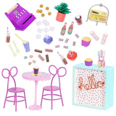 """Glitter Girls Sweet Shop Terrace Table & Chairs Furniture Accessory Set for 14"""" Dolls"""