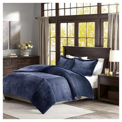 Williams Corduroy Plush Comforter Set (Twin)Navy - 2pc