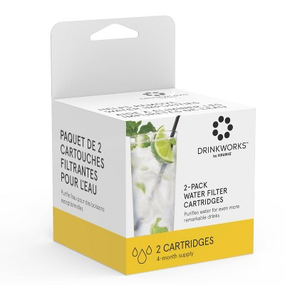 Drinkworks Water Filter Cartridges Compatible with Drinkworks Home Bar - 2ct