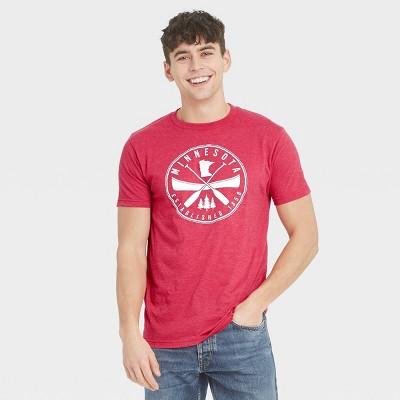 Men's Short Sleeve Minnesota Canoe Graphic T-Shirt - Awake Red