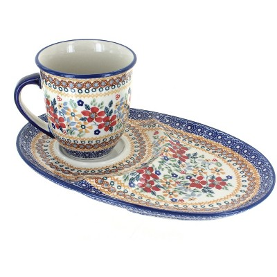 Blue Rose Polish Pottery Red Daisy Breakfast Plate with Breakfast Mug