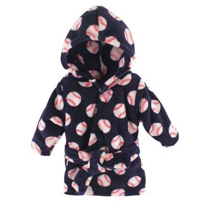 Luvable Friends Baby Boy Plush Bathrobe, Baseball, 0-9M