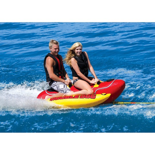 Airhead Double Dog Towable - Red/Black/Yellow, Adult Unisex image number null