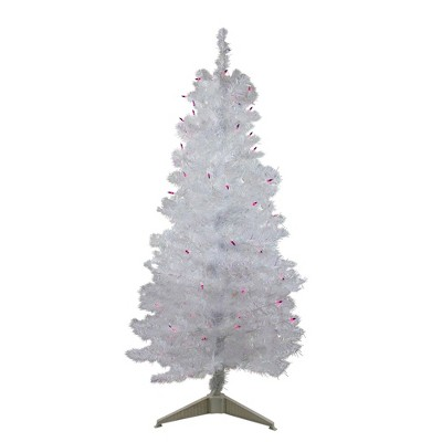 Northlight 4' Prelit Artificial Christmas Tree White Iridescent Pine - Pink/Purple Lights