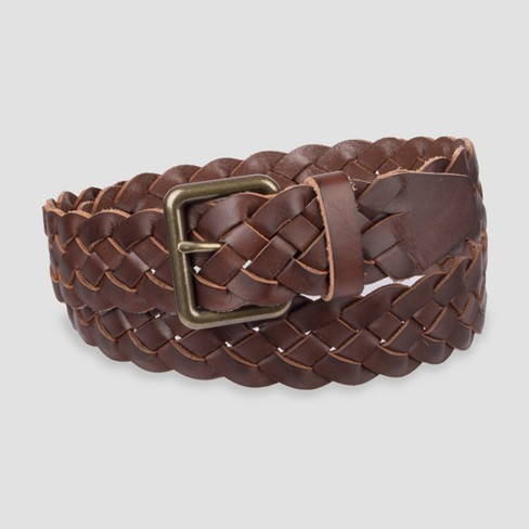 Men S 30mm Braid Leather Belt Goodfellow Co Brown Target